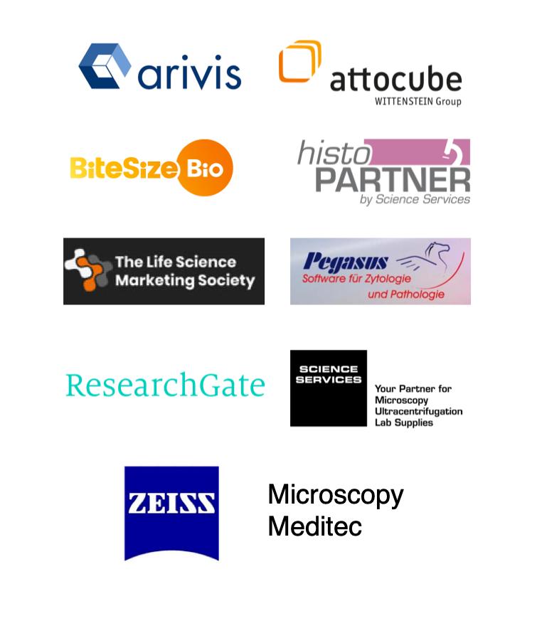 Referenzen und Partner Juli 2019: arivis, attocube, BitesizeBio, histoPartner, Life Science Marketing Society, Pegasus Zytologie, ResearchGate, ScienceServices, ZEISS Microscopy, ZEISS Meditec